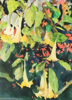 """Original Watercolor by Susan Marie Fairclough, Trumpets, Unmatted 21"""" X 29"""""""