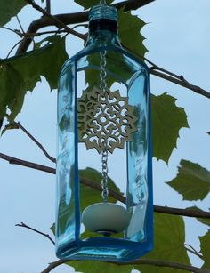 Bombay Sapphire Gin Bottle Wind Chime by GroovyGreenGlass on Etsy, $45.00
