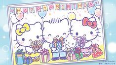 Hello Kitty Birthday, Happy Birthday, Sanrio Characters, Fictional Characters, Hello Kitty Wallpaper, Snoopy, Kawaii, Cards, Beer
