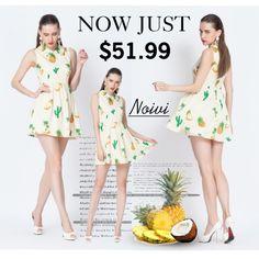 Warm Yellow Pineapple Print Sleeveless Dress
