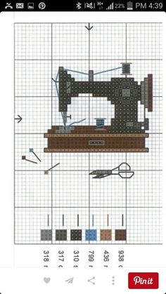 realist antique singer sewing machine cross stitch pattern and color chart Gallery. Cross Stitching, Cross Stitch Embroidery, Embroidery Patterns, Sewing Patterns, Counted Cross Stitches, Hand Embroidery, Cross Stitch Charts, Cross Stitch Designs, Cross Stitch Patterns