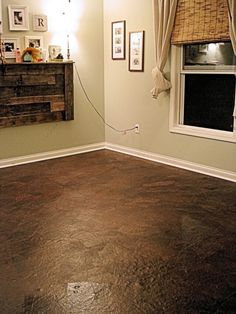 brown paper bag floors...I would try this on the walls