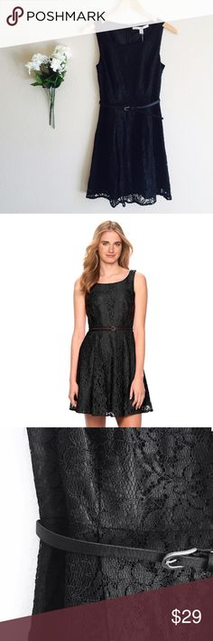 Flirty Black Lace Dress Gorgeous lace design with a fit and flare cut for a flirty style. Fits true to size  • lined, pleated skirt • back zipper • comes w/belt • nylon, rayon fabric • 35 3/8-in length from shoulder to hem   📬📦 Ships within 24 hours   💔 no holds 💔 no trades ❤️ open to reasonable offers 💝 bundle and save 10% on 3+ items LC Lauren Conrad Dresses Midi