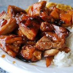 A flavorful chicken dish named after Bourbon Street in New Orleans, Louisiana This was a copycat recipe I found & modified of the Bourbon Chicken sold in most Chinese take-outs; which rarely use bourbon as a component. It's wonderfully sweet & spicy without being too hot. For kids that don't like hotstuffs, cut down on the pepper flakes! - Bourbon Chicken
