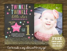 Twinkle Little Star Chalkboard (Mint) Birthday Invitation - Printable - FREE pennant banner and thank you card with purchase 1st Birthday Cards, 1st Birthday Parties, Girl Birthday, Birthday Ideas, Free Printable Birthday Invitations, Invitations Kids, Prince Party, Pennant Banners, Twinkle Twinkle Little Star