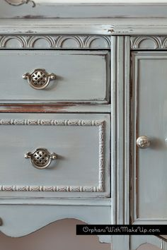 PARIS GREY ANTIQUE SIDEBOARD — Orphans With MakeUp.  Paris Grey mixed with Graphite for the top layer...so pretty!