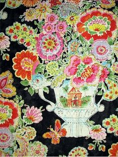 "Blissful Bouquet Licorice -  Dena Home Fabric, beautiful floral print from California Dreaming Collection, drapery fabric, light use upholstery fabric, pillow fabric, headboard fabric. 55% linen, 45% rayon. Repeat; V 25.25"" - H13.5"". 54"" wide. Permission has been granted by DENA HOME to display copyrighted designs. Product Designs © DENA HOME. All rights reserved."