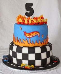 Hot Wheels Car Birthday Cake Double chocolate fudge cake with buttercream and fondant Hot Wheels Party, Bolo Hot Wheels, Hot Wheels Cake, Hot Wheels Birthday, Car Birthday, Hotwheels Birthday Cake, Birthday Ideas, Happy Birthday, Cupcakes