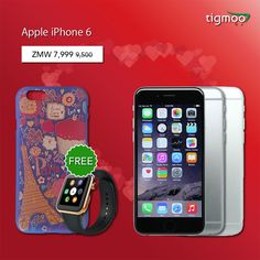 Buy #Apple #iPhone6 64GB in Grey color With free #FancyCase & #SmartWatch from Tigmoo, on the #saleprices of ZMW 7,999 https://www.tigmoo.com/apple-iphone-6-64gb-grey-with-free-fancy-case-iphone-watch.html