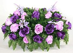 XL Purple and Lavender Roses Artificial Silk Flower Cemetery Tombstone Grave Saddle Crazyboutdeco Cemetery Flowers Funeral Flower Arrangements, Funeral Flowers, Floral Arrangements, Hot Pink Roses, Lavender Roses, Cemetery Flowers, Cemetery Vases, Cemetery Decorations, Memorial Flowers