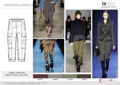 Trousers & Skirts flat drawings, vector technical sketches for Fall winter 2017-18 Trend forecasting by 5forecaStore