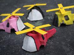 Helicópteros de cartón de huevo en el entretenimiento, libros y cuentos para bebés y niños