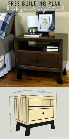 This chunky wood nightstand is made from solid wood and features angled mid-century style legs, an open shelf, and a sliding drawer for storage. Free building plan and tutorial. Modern Bedside Table, Modern Bedroom Furniture, Classic Furniture, Bedside Tables, Industrial Furniture, Rustic Furniture, Nightstand Plans, Wood Nightstand, Diy Furniture Projects