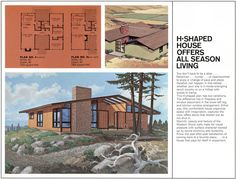 """A artist's rendering and floorplan for the H-shaped """"Modern Vacation Home Plan 9"""" from an undated Western Wood Products Association brochure. Via ElectroSpark Flickr"""