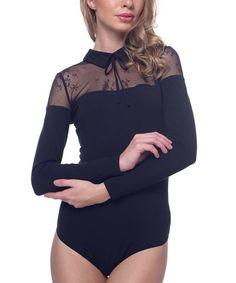 Arefeva Black Collar Keyhole-Back Lace-Yoke Bodysuit | zulily