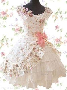 Fancy Frilly Dress fashion girly cute flower dress pink sweet pattern formal frilly full petticoat