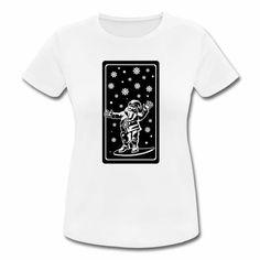 Frauen T-Shirt atmungsaktiv - Dieses ultraleichte Sport-Shirt spielt garantiert auf Deiner Seite. - Schnelltrocknend und atmungsaktiv (140 g/m²) - T-SHIRT, FRÖHLICHER NIKOLAUS MIT AUSGEBREITETEN HÄNDEN UND SCHNEEFLOCKEN. DAS SHIRT GEHÖRT SICHER ZU DEN TOP 10 GESCHENKE FÜR FRAUEN.
