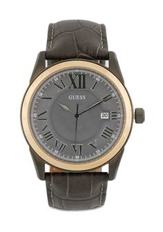 Dark Brown Analog Hw01.10613G1 Watch by Guess, with stainless steel case, with leather strap, mainly watch, with diameter 4.5 cm, water resistant,  strap length 27 cm, this watch suitable for everyday use or formal occasion.   http://www.zocko.com/z/JH0Wc