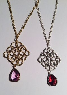 Merida Luxe Celtic Love Knot in Gold or Silver w/ your choice of color crystal or gemstone...def silver w/ amethyst stone!