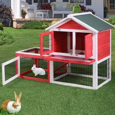 "Lazymoon 53"" Wooden Rabbit House Hutch Chicken Coop Bunny Small Animal Cage w/ Tray Outdoor Run"