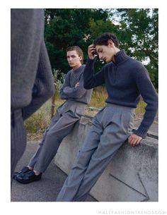 "justdropithere: ""Gabriel Besnard & Aaron Shandel by Sarah Blais - Esquire UK, Sep 2017 "" Mode Outfits, Fashion Outfits, Fashion Tips, Fashion Trends, Fashion Hair, Men Street, Street Wear, Look Fashion, Mens Fashion"