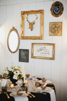 Gold and Black Vintage Decor Ideas | photography by http://www.kristynhogan.com
