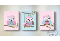 Girl Room Decor - OWL canvas art, Baby Nursery  Owl Canvas Set, Owl Canvas Print for nursery match with Brooklyn Crib Bedding by MuralMAX on Etsy https://www.etsy.com/listing/208193023/girl-room-decor-owl-canvas-art-baby