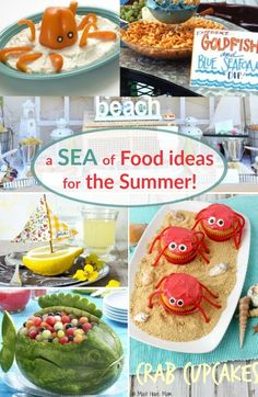 Sea Inspired Food Ideas: http://www.completely-coastal.com/search/label/Beach%20Party%20Food For a Beach Party, Nautical Party & Summer Party. Creative and fun food ideas!