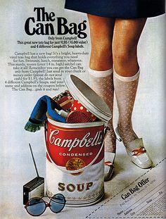 1960s Advertising - Magazine Ad - Campbell's Soup (USA)...I remember my mom packing lunches, etc for the beach in one of these! :)