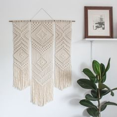 Macrame Wall Hanging > TRIO > Ecru Recycled Cotton Cord with Bamboo