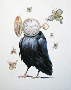 The clock raven print card by cervants on Etsy, $36.00