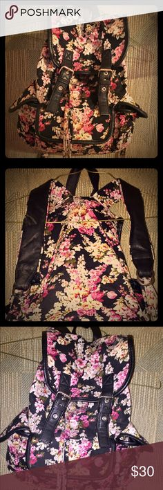 Like New Candies Black Floral Backpack, very nice Black Floral backpack by Candies, very beautiful, like new condition, has leather trim and leather shoulder straps, 🚬🐱🏡💖accepting reasonable offers💖 Candie's Bags Backpacks