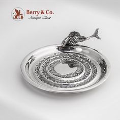 Figural Fish Serving Dish 800 Silver Florence 1950, made by Bartolini Bartolejji.