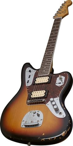 Fender Kurt Cobain Signature  Jaguar Electric Guitar 3 Color Sunburst 3-Color Sunburst, Close Angle