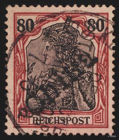 """Philasearch.com - German office abroad China, Petschili Issue, Michel 14 - """"1900, China hand stamp, 80 Pfg., dark reddish carmine / red black on pale carmine, neat cancelled """"K. D. FELDPOSTEXPED. Of the East Asian EXPEDITIONSCORPS a 7 5"""", postmark the good type I, faultless choise copy condition, older marks, certificate with photograph Jakubek and expertized Jäschke-Lantelme with new certificate with photograph, Michel 6000,--. """"  Lot condition   Dealer HBA  Auction Starting Price: 1800.00…"""