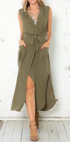 Army green sleeveless V neck split pockets dress
