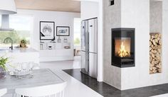 Fireplaces – Scandinavian fireplace inserts in beautiful designs Wood Burning Stove Insert, Wood Burning Fireplace Inserts, Home Fireplace, Modern Fireplace, Fireplaces, Scandinavian Fireplace, Design Moderne, Living Room Inspiration, Dining Area