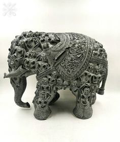 Elephant Lucky Figurine Statue Wood Carved Animal Office Home Decor Natural