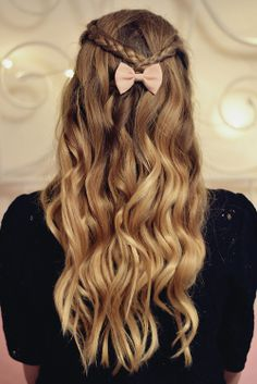 wavy hair, braids & bow    see more on our instagram account: http://www.instagram.com/hairtorial