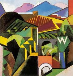 Auguste Herbin - Céret.  French Cubist and later abstract painter whose work forms a bridge between the Cubist movement and post-war geometrical abstraction.