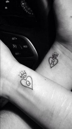 """""""Simple little tattoos I drew up for me and my girl, then got a few months ago."""""""