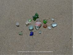 Beautiful pieces of seaglass found at Scusset Beach in Cape Cod. An old coke bottle piece and a perfect jewelry grade are amongst the top finds. #seaglass #beach