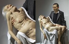 Conceived by Ron Mueck and executed by Sam Jinks this sculpture is a modern take on the classic Pieta. The hyper realism of the work means that it can be photographed from any angle to create new images. The use of multiple textures adds complexity to the piece.