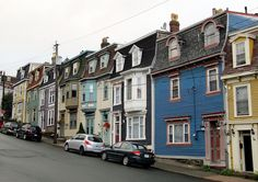 More colourful row houses of historic downtown St. I was very impressed with the Victorian architecture of these beautiful row houses. Newfoundland And Labrador, Newfoundland Canada, Big Country, Natural Scenery, Victorian Architecture, Nova Scotia, Beautiful Islands, Victorian Homes