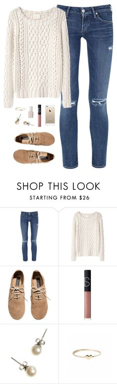 """worn jeans + sweater"" by classically-preppy ❤ liked on Polyvore featuring Citizens of Humanity, Band of Outsiders, H&M, NARS Cosmetics, J.Crew, Catbird and Essie"