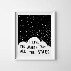Nursery decor wall art, Scandinavian art I love you more than all the stars nursery printable wall art, kids room art, I love you print in black and