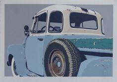 """ '54 Chevy"", 2012, reduction linocut, 12 colors by Dave Lefner http://www.davelefner.com/ Tags: Linocut, Cut, Print, Linoleum, Lino, Carving, Block, Helen Elstone, Vehicles"