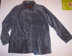 NWOT St John's Bay Womens Genuine Suede Leather Solid Gray Jacket Size M/L #StJohnsBay #BasicJacket