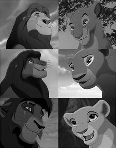Mufasa and Sarabi, Simba and Nala, Kovu and Kiara