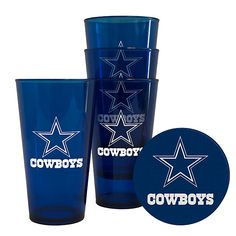 The Official Shop of the Dallas Cowboys gets you ready for the game with the Dallas Cowboys 4 Pack Plastic Pint with Coaster Set. 4 Plastic pint glasses 4 Coasters Cowboys name and logo imprint Officially licensed NFL product Dallas Cowboys Room, Dallas Cowboys Crafts, Dallas Cowboys Quotes, Dallas Cowboys Outfits, Dallas Cowboys Pro Shop, Dallas Cowboys Images, Cowboys 4, Dodgers, Cowboy Crafts